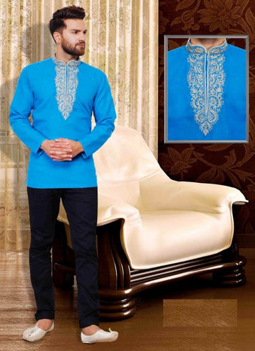 Dazzling Blue Color Cotton Fabric Mens Wear