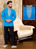 Dazzling Blue Color cotton Mens Wear