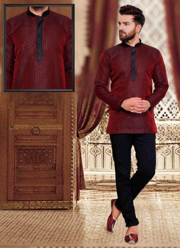 Dazzling Maroon Color Silk Fabric Mens Wear