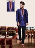 Dazzling Navy Blue Color Silk Fabric Mens Wear