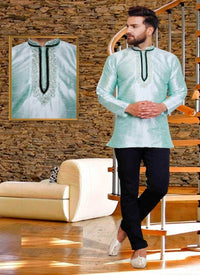 Dazzling Aqua Color Silk Fabric Mens Wear