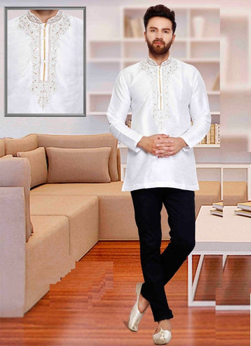 Dazzling White Color Silk Fabric Mens Wear
