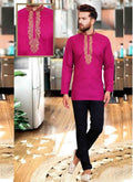 Dazzling Magenta Color Cotton Fabric Mens Wear
