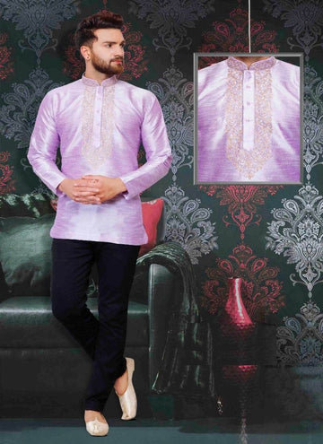 Dazzling Purple Color Silk Fabric Mens Wear