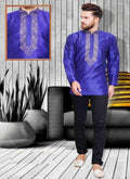 Dazzling Blue Color Silk Fabric Mens Wear