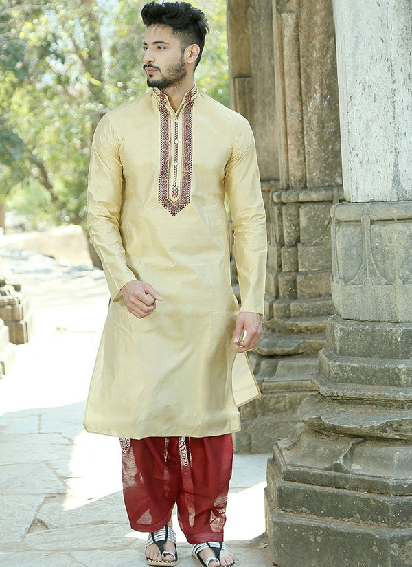 Charming Beige Color Silk Fabric Kurta Pajama