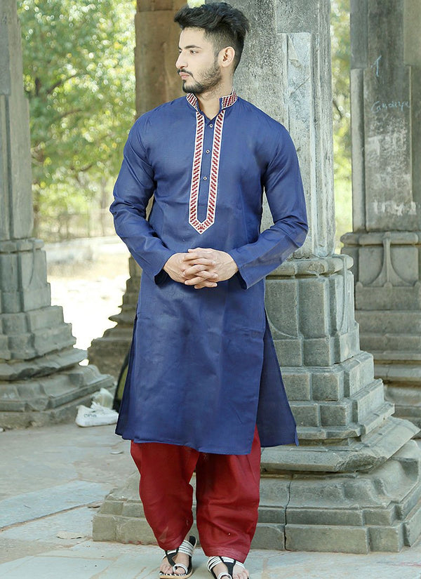 Charming Blue Color Cotton Fabric Kurta Pajama