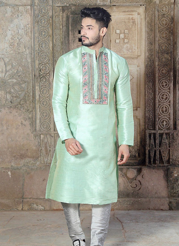 Charming Green Color Silk Fabric Kurta Pajama