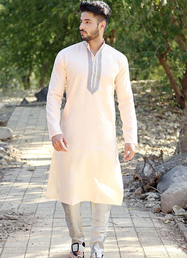 Charming Peach Color Cotton Fabric Kurta Pajama
