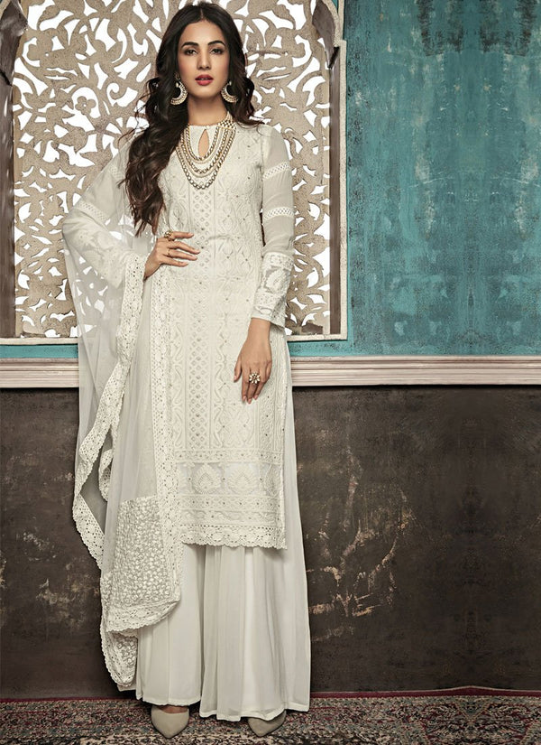 Unequalled White Color Georgette Fabric Partywear Suit