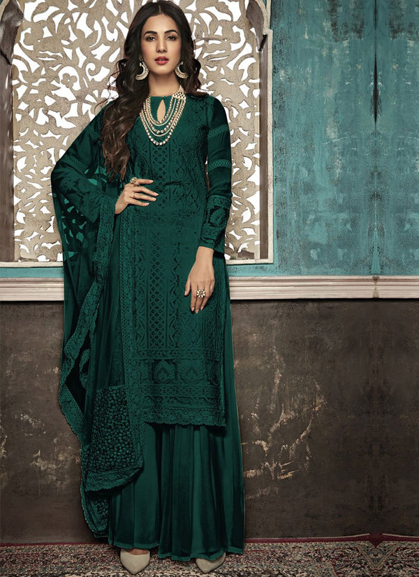 Unequalled Green Color Georgette Fabric Partywear Suit