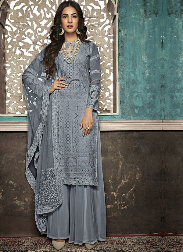 Unequalled Grey Color Georgette Fabric Partywear Suit