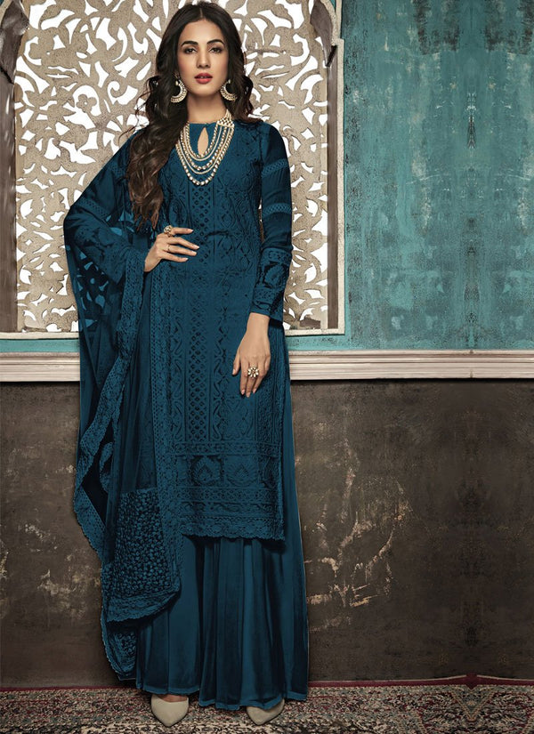 Unequalled Teal Color Georgette Fabric Partywear Suit