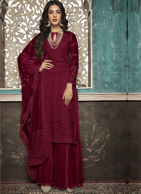 Unequalled Maroon Color Georgette Fabric Partywear Suit