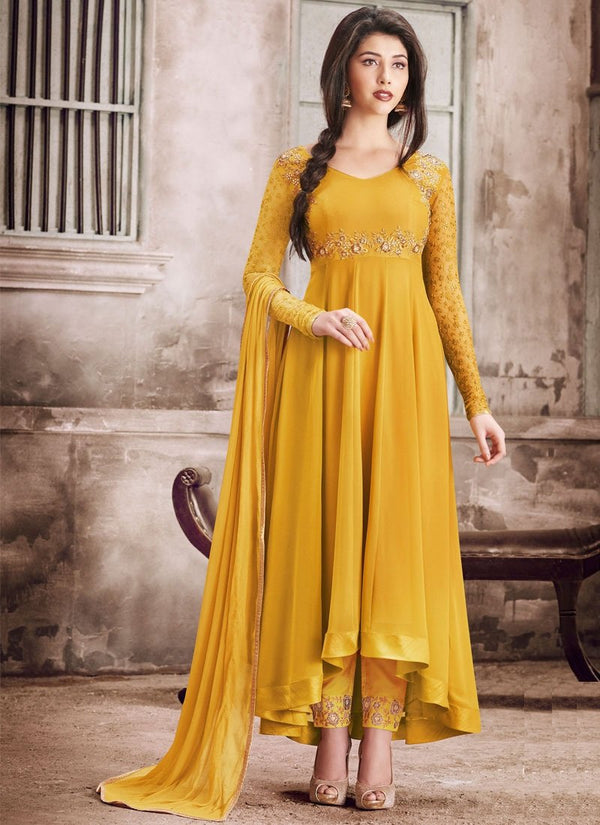 Fetching Yellow Color Georgette Fabric Salwar Kameez