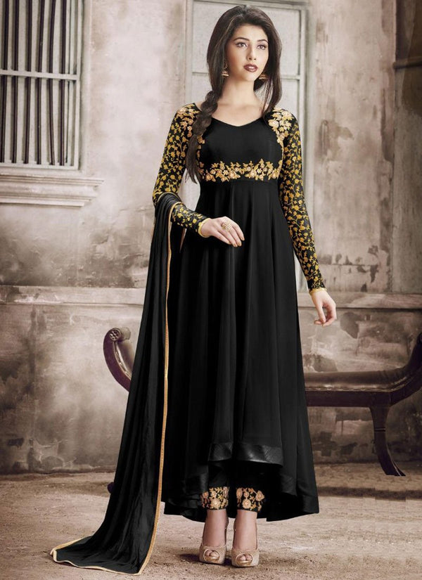 Fetching Black Color Georgette Fabric Salwar Kameez