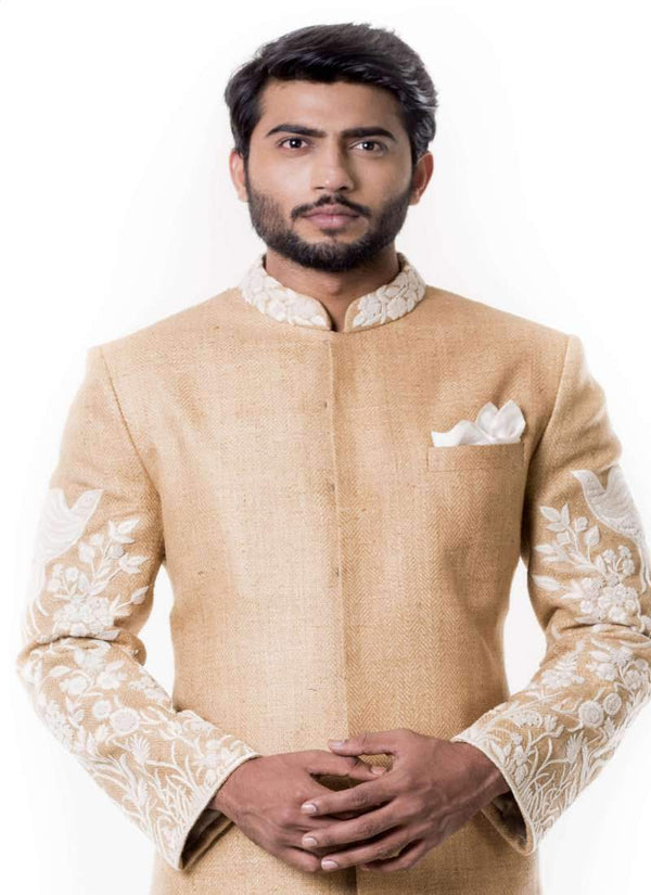 Charming Beige Color Silk Fabric Sherwani