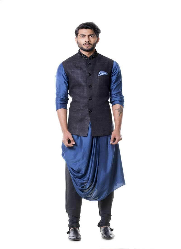 Adorable Blue Color Silk Fabric Mens Indowestern