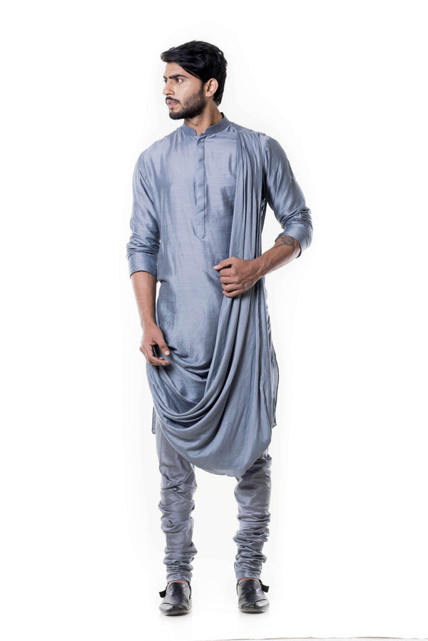 Charming Grey Color Silk Fabric Indowestern