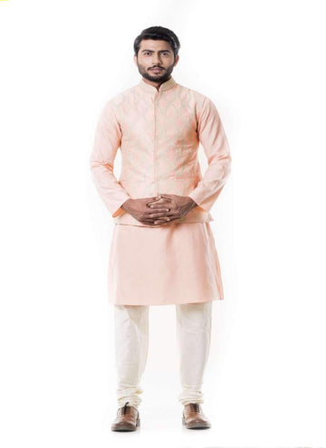 Charming Peach Color Silk Fabric Kurta Pajama