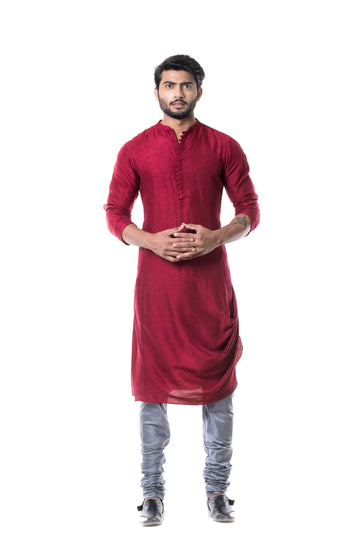 Charming Maroon Color Silk Fabric Kurta Pajama