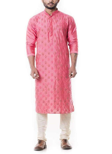Adorable Coral Color Silk Fabric Kurta Pajama