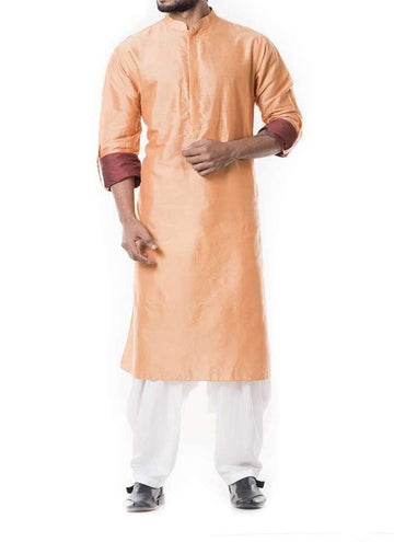Adorable Peach Color Silk Fabric Kurta Pajama
