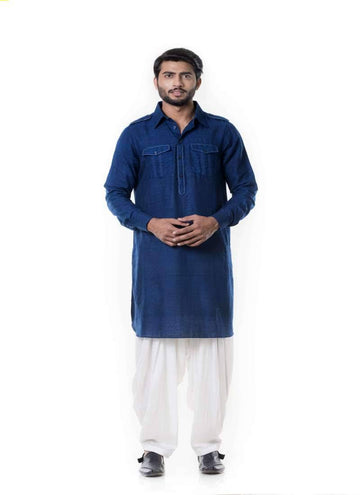 Adorable Blue Color Silk Fabric Kurta Pajama