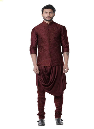 Adorable Wine Color Silk Fabric Mens Indowestern