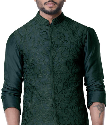 Adorable Green Color Silk Fabric Mens Indowestern
