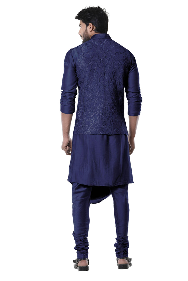 Adorable Navy Blue Color Silk Fabric Mens Indowestern