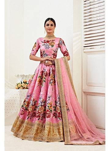 Fetching Pink Color Banglori Satin Fabric Party Wear Lehenga