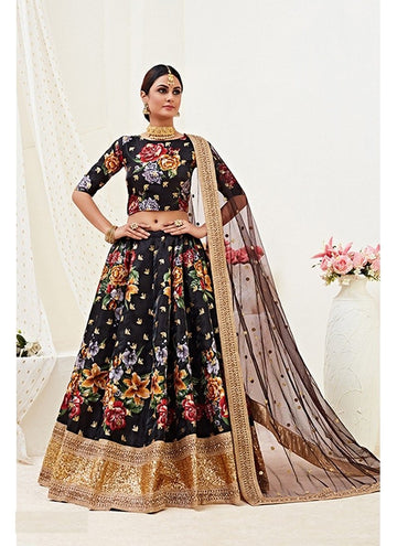 Fetching Black Color Banglori Satin Fabric Party Wear Lehenga