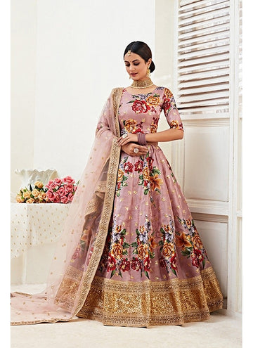 Fetching Peach Color Banglori Satin Fabric Party Wear Lehenga