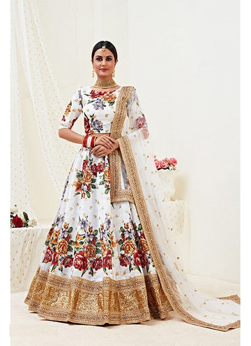 Fetching White Color Banglori Satin Fabric Party Wear Lehenga