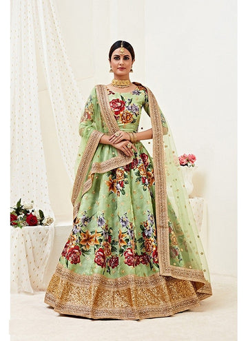 Fetching Green Color Banglori Satin Fabric Party Wear Lehenga