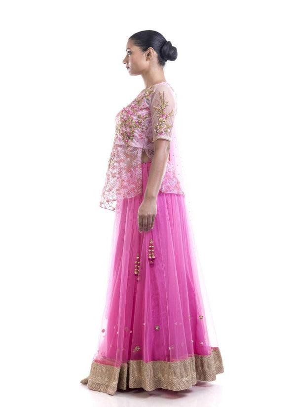 Adorable Pink Color Crepe Fabric Lehenga