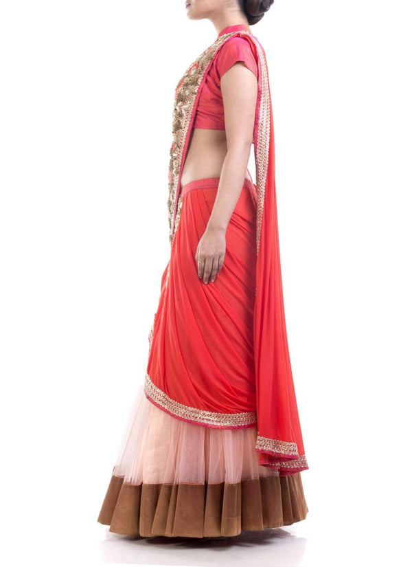 Adorable Coral Color Silk Fabric Saree