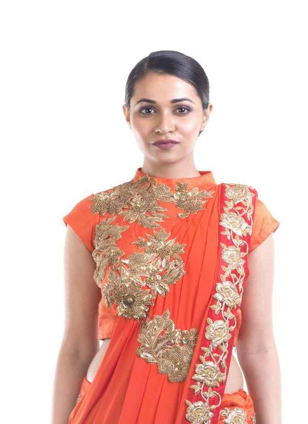Adorable Orange Color Silk Fabric Saree