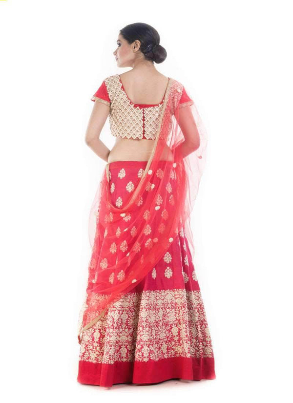 Marvelous Red Color Silk Fabric Party Wear Lehenga