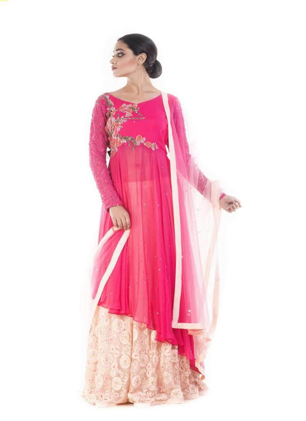 Marvelous Pink Color Georgette Fabric Party Wear Lehenga
