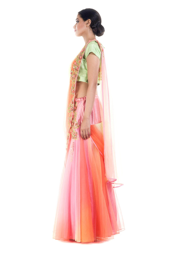 Marvelous Green Color Silk Fabric Party Wear Lehenga