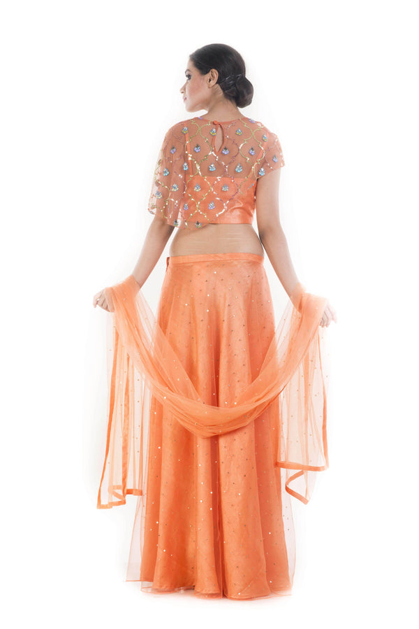 Marvelous Orange Color Silk Fabric Party Wear Lehenga