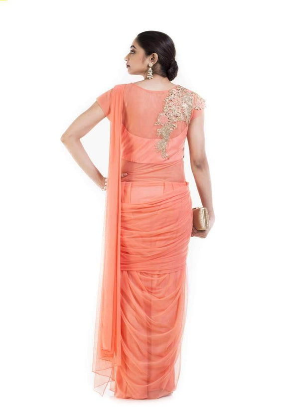 Amazing Orange Color Georgette Fabric Gown