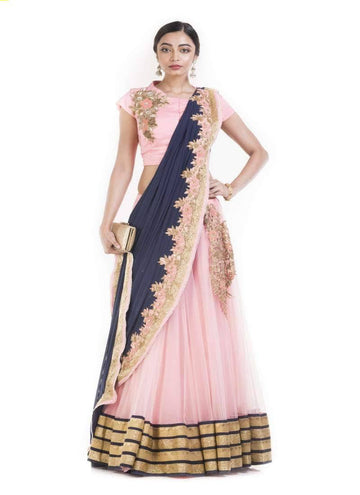 Amazing Pink Color Silk Fabric Party Wear Lehenga