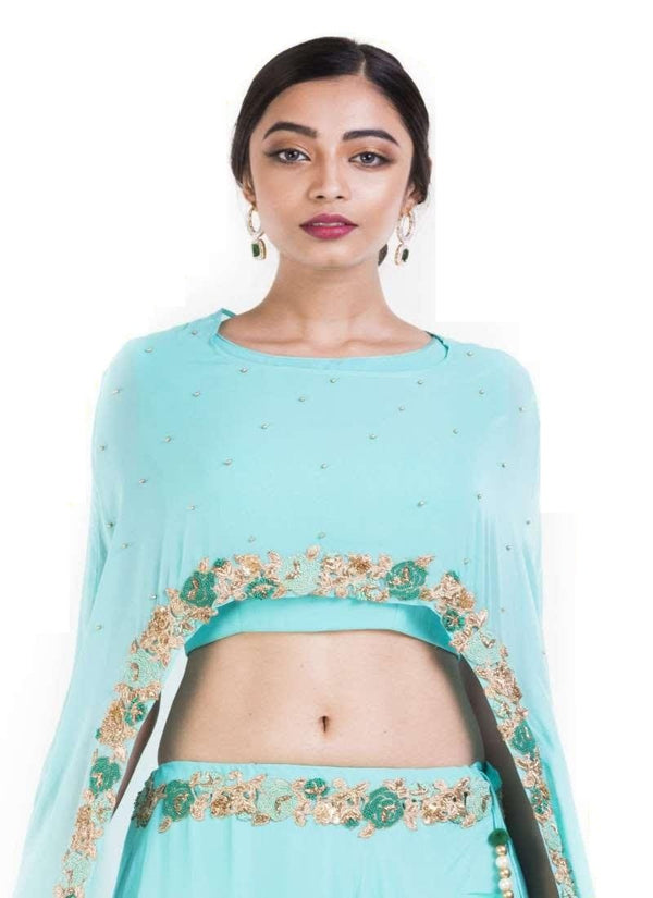 Amazing Aqua Color Georgette Fabric Indowestern