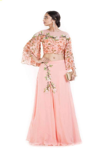 Amazing Pink Color Georgette Fabric Indowestern