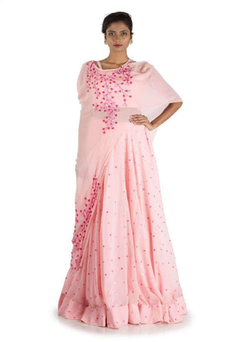 Charming Pink Color Georgette Fabric Lehenga
