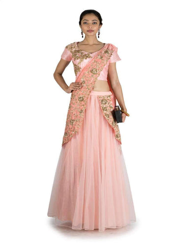 Charming Peach Color Silk Fabric Saree