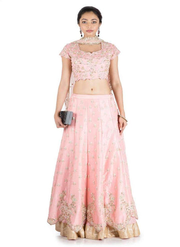 Charming Pink Color Silk Fabric Lehenga